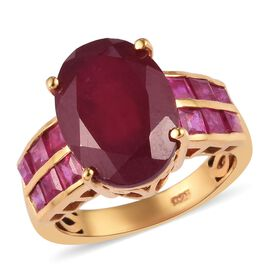One Time Deal- African Ruby (FF) Ring in 14K Gold Overlay Sterling Silver 10.00 Ct.