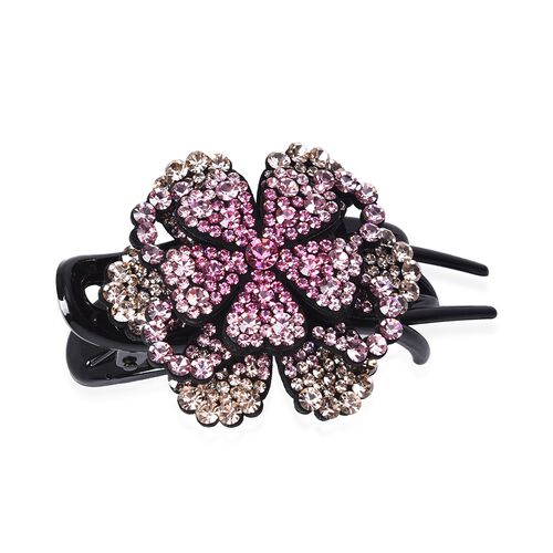 Three Teeth Flower Duck Clip - Dark Pink, Light Pink and Champagne
