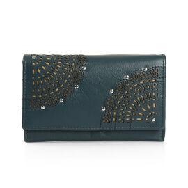 Cecilla Laser Cut Design 100% Genuine Leather Peacock Green Colour RFID Blocker Large Wallet (Size 15x10 Cm)