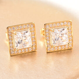 J Francis - Yellow Gold Overlay Sterling Silver Stud Earrings (with Push Back) Made with SWAROVSKI ZIRCONIA 2.86 Ct.