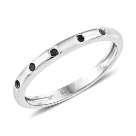 Black Diamond (Rnd) Ring in Platinum Overlay Sterling Silver