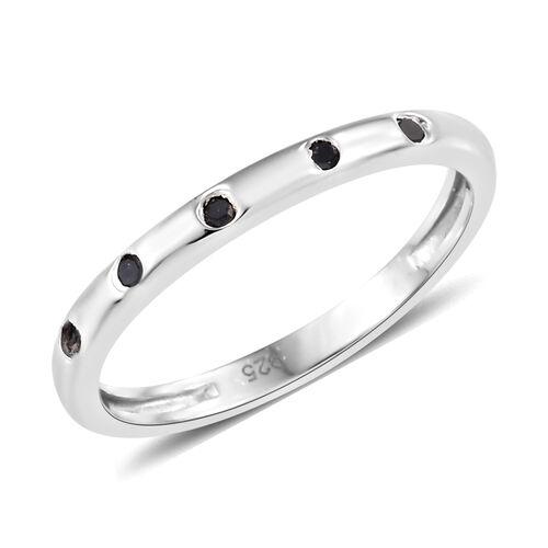 Black Diamond (Rnd) Ring in Platinum Overlay Sterling Silver