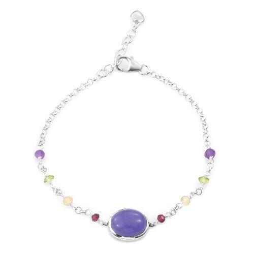 Purple Jade (Ovl) Mozambique Garnet,Hebie Peridot,Amethyst,Citrine Bracelet (Size 7.5) in Sterling Silver 10.000 Ct.