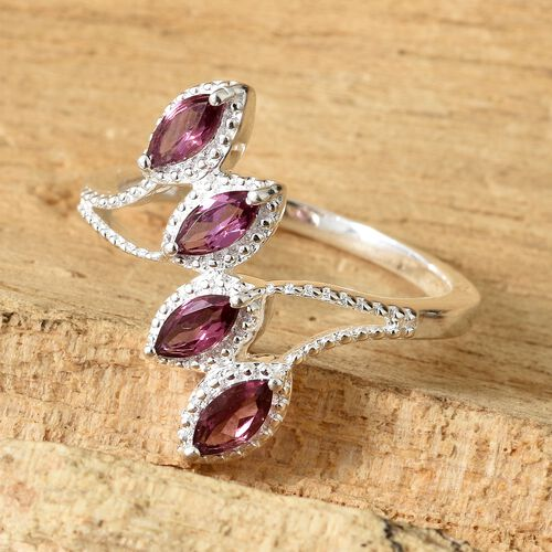 Orissa Rose Garnet (Mrq) Crossover Ring in Sterling Silver 1.000 Ct. Silver wt 3.18 Gms.