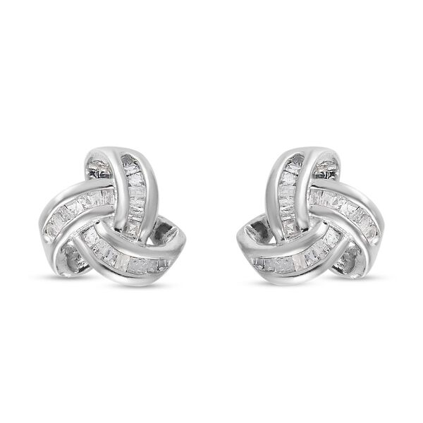 0.26 Ct Diamond Triple Knot Stud Earrings GH Colour in Platinum Plated Silver