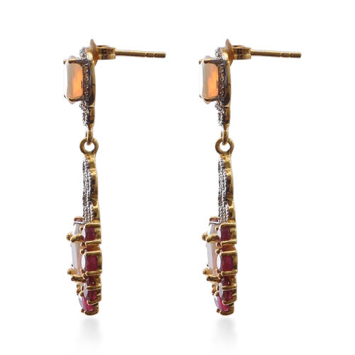 Designer Inspired-African Ruby (Ovl), Ethiopian Welo Opal and Natural Cambodian White Zircon Earrings (with Push Back) in Yellow Overlay Sterling Silver 6.610 Ct.