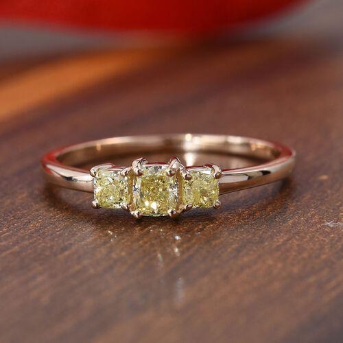 9K Yellow Gold Natural Yellow Diamond (Cush) Three Stone Ring 0.60 Ct.