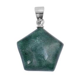 Green Phosphosiderite Pendant in Rhodium Overlay Sterling Silver 15.00 Ct.