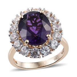 9K Yellow Gold AA Zambian Amethyst (Ovl 12x10 mm), Natural Cambodian Zircon Ring 6.500 Ct.