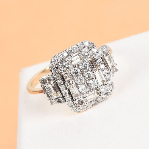 1.04 Ct. Natural Diamond Cluster Ring in 9K Yellow Gold SGL Certified I3 GH