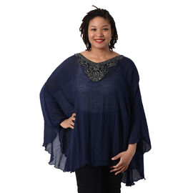 Swing Top with Embroidery Kaftan (Size 130x75cm)- Navy