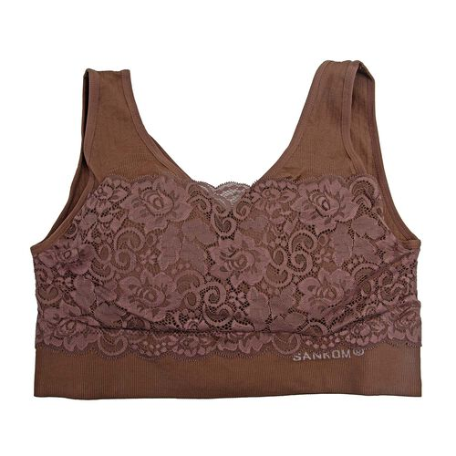 3 Piece Set- Sankom Patent Classic Bra With Lace (Size S-M) - Colour Dark Blue, Taupe Brown and Garnet Pink