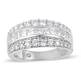 New York Close Out- 14K White Gold LEO Diamond (Princess) (SI/G-H) Ring 1.620 Ct, Gold wt 7.00 Gms.