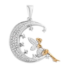 New Arrival- Diamond Half Moon with Fairy Pendant in Platinum and Yellow Gold Overlay Sterling Silve