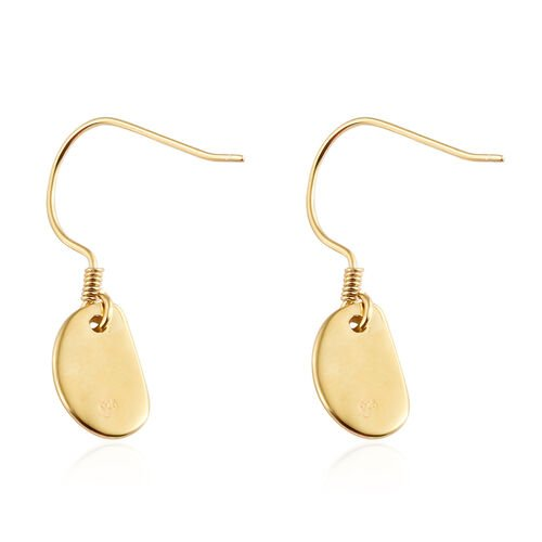 14K Gold Overlay Sterling Silver Pebble Hook Earrings, Silver wt. 3.17 Gms.
