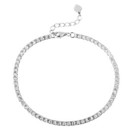 ELANZA AAA Simulated Diamond (Princess Cut) Bracelet (Size 7.25 with 1 inch Extender) in Rhodium Ove