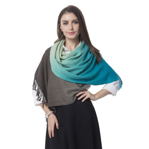 Grey, Blue and Green Colour Scarf (Size 180x62 Cm)