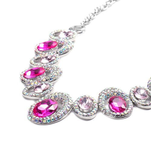 Simulated Pink Tourmaline, Simulated Pink Diamond and Simulated Mystic White Crystal Necklace (Size 22 with Extender) in Silver Tone