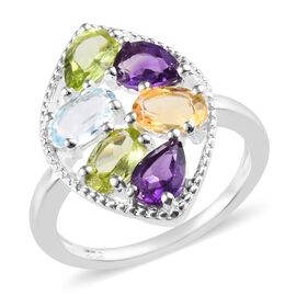 2.50 Ct Sky Blue Topaz and Multi Gemstone Cluster Ring in Sterling Silver