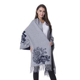 Designer Inspired-Black and Grey Colour Flower Pattern Kimono (Size 101x48+10 Cm)