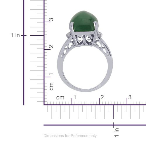 Emerald Quartz (Cush 11.00 Ct), White Topaz Ring in Platinum Overlay Sterling Silver 11.050 Ct.