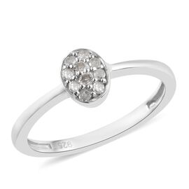 Diamond (Rnd) Ring in Platinum Overlay Sterling Silver 0.10 Ct.