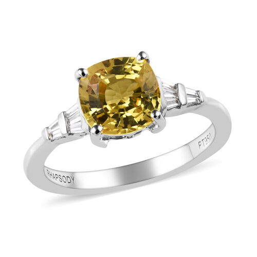 RHAPSODY 2 Carat AAAA Yellow Sapphire and Diamond Solitaire Design Ring in 950 Platinum VS EF