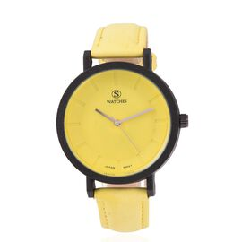 STRADA Japanese Movement Water Resistant Watch with Yellow Strap