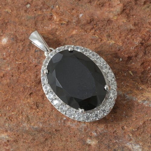 Black Tourmaline (Ovl 18x13 mm, 12.65 Ct), Natural Cambodian Zircon Halo Pendant in Platinum Overlay Sterling Silver 14.500 Ct.