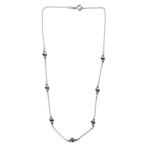 Sterling Silver Station Necklace (Size 18)
