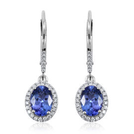 ILIANA 18K White Gold AAA Tanzanite and Diamond (SI/G-H) Lever Back Earrings 2.35 Ct.