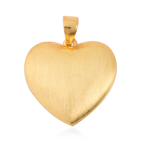 ELANZA Simulated Diamond Heart and Embossed Rose Pendant in Black and Yellow Gold Overlay Sterling Silver