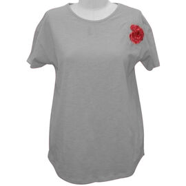 SUGARCRISP 100% Cotton Short Sleeved TShirt with Flower Detail - Grey Melange