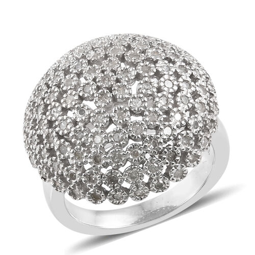 Designer Inspired- Limited Edition- Diamond (Rnd) Dome Ring in Platinum Overlay Sterling Silver 0.750 Ct