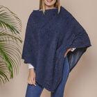 Striped Design Soft Faux Fur Poncho (Size 100x84 cm) - Dark Blue