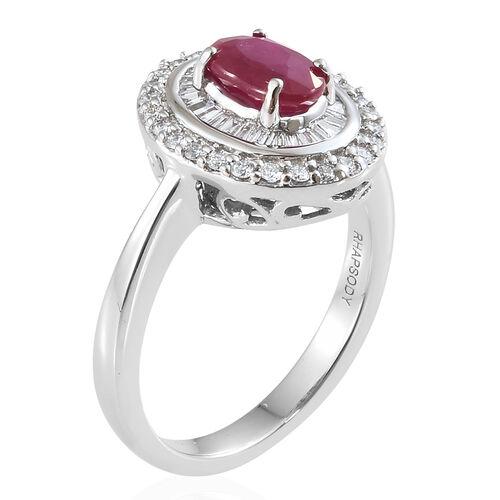 RHAPSODY 950 Platinum AAAA Burmese Ruby (Ovl 1.00 Ct), Diamond (VS/ E-F) Ring 1.350 Ct, Platinum wt 7.00 Gms