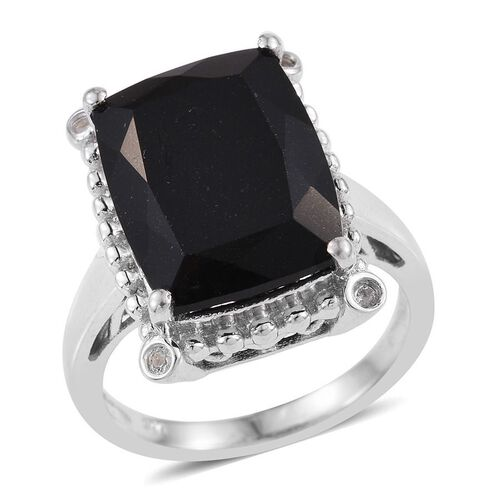 Australian Midnight Tourmaline (Cush), White Topaz Ring in Platinum Overlay Sterling Silver 11.115 Ct.