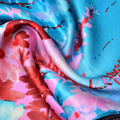 First Time Ever Digital Print - 100% Mulberry Silk Red, Blue and Multi Colour Flower Pattern Scarf (Size 170x52 Cm) Finish Silk 50 Gram