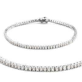 Super Auction- New York Close Out 14K White Gold Diamond (Rnd) (I3/G-H) Bracelet (Size 7.5) 3.000 Ct, Gold wt 9.00 Gms.