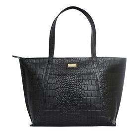 Assots London AGNES Black Croc Leather Unlined Tote Bag (Size 42x28x10.5 Cm)
