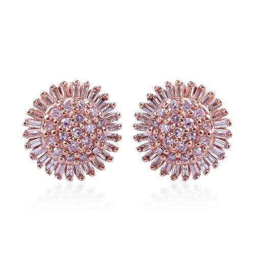 9K Rose Gold Natural Pink Diamond (Rnd and Bgt), Diamond Earrings (with Push Back) 0.500 Ct.