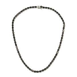 20.25 Ct Elite Shungite Tennis Necklace in Platinum Plated Sterling Silver 21.50 Grams 18 Inch