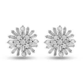 9K White Gold SGL Certified Diamond (I3/G-H) Starburst Earrings (with Push Back) 0.50 Ct.