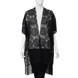 Black Colour Floral Lace Kimono with Long Tassels (Size 90x80+14 Cm)