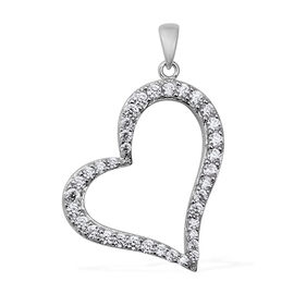 ELANZA Simulated Diamond Heart Pendant in Rhodium Plated Sterling Silver 6.32 Grams