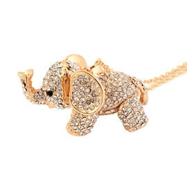 White Austrian Crystal and Black Austrian Crystal Elephant Pendant with Chain (Size 24) in Gold Tone