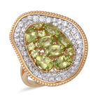 Designer Inspired- Hebei Peridot (Ovl), Natural Cambodian White Zircon Ring (Size R) in Two Tone Plating Ster