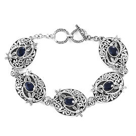 Royal Bali Collection - Kanchanaburi Blue Sapphire Floral Dragonfly Toggle Bar Bracelet (Size 7.5 wi