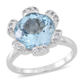 Sky Blue Topaz (Rnd), Natural White Cambodian Zircon Ring in Rhodium Plated Sterling Silver 7.500 Ct.