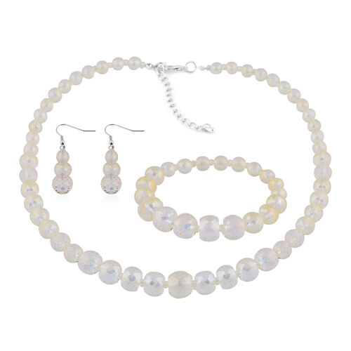 3 Piece Set - Simulated Champagne Topaz Beaded Necklace (Size 20 with 3 inch Extender), Stretchable